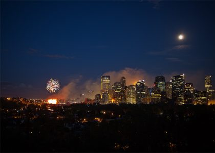 The First Fireworks! – Calgary Landscape Photographer